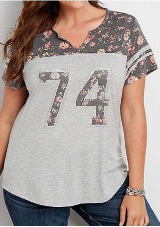 74 Floral Splicing V-Neck T-Shirt