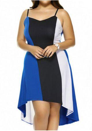 Color Block Asymmetric Spaghetti Strap Casual Dress Color