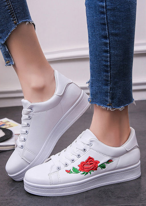 Image of Embroidery Lace Up Chunky Sole Sneakers