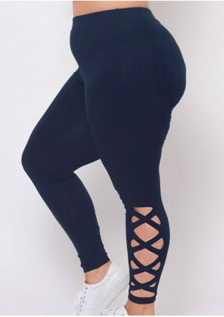 Solid Criss-Cross Hollow Out Sport Pants