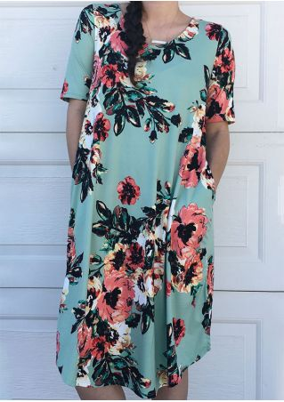 Floral Pocket Casual Dress without Necklace
