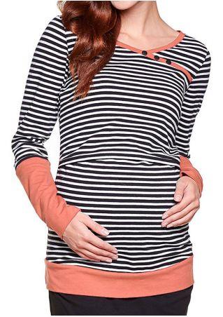 Striped Splicing Button Lactation T-Shirt
