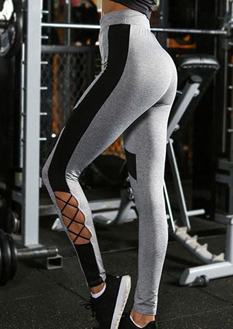 Image of Color Block Criss-Cross Sport Pants