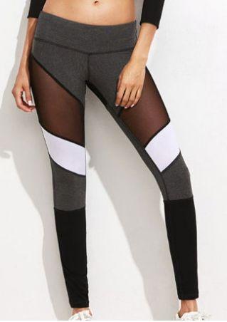 Color Block Mesh Splicing Sport Pants