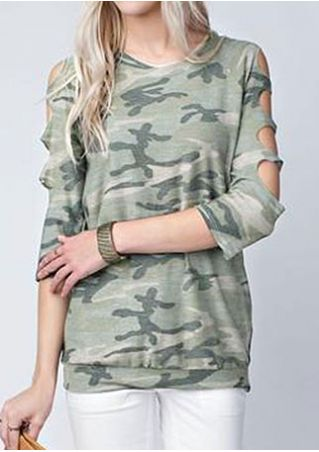 Camouflage Printed Hollow Out T-Shirt Camouflage