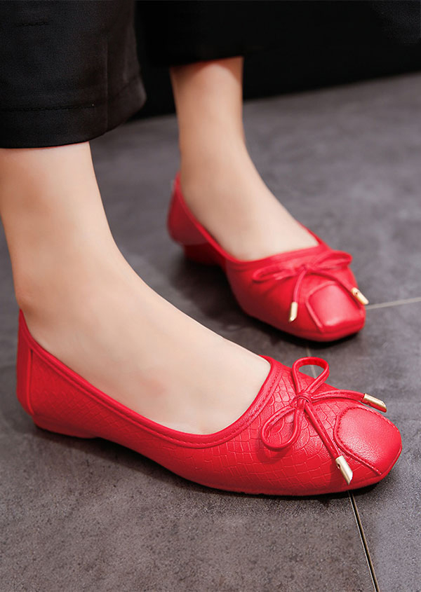 Image of Solid Bowknot Round Toe Flats