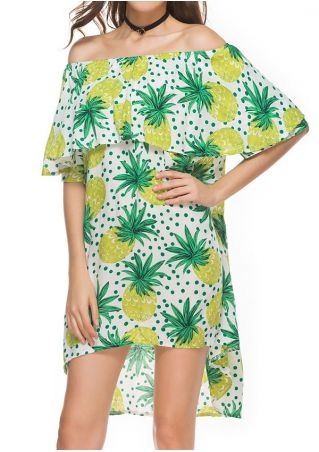 Pineapple Printed Flouncing Mini Dress without Necklace