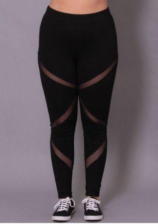 Solid Mesh Splicing Skinny Sport Pants