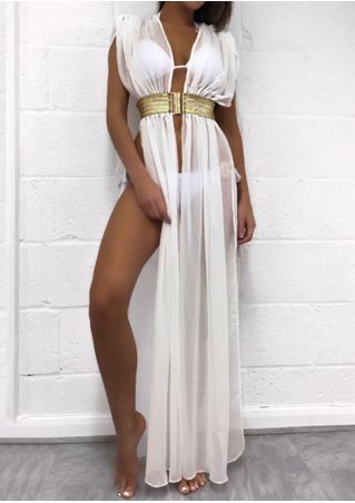 Solid See-Through Cover Up with Belt