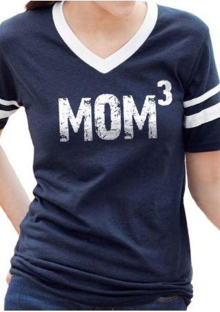 Mom 3 Striped V-Neck Short Sleeve T-Shirt