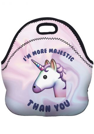 Letter Printed Unicorn Lunch Bag