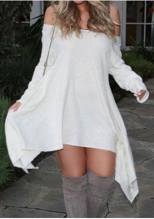 Solid Off Shouder Long Sleeve Mini Dress
