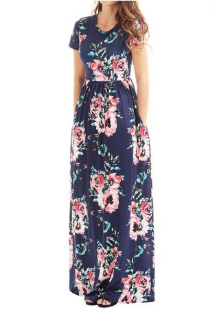 Floral Short Sleeve Maxi Dress