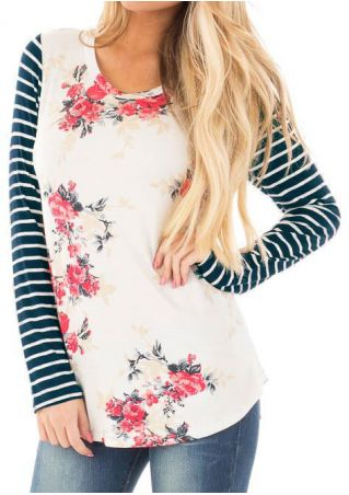 Floral Striped Splicing Long Sleeve Blouse