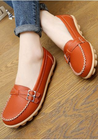 Solid Buckle Round Toe Flats