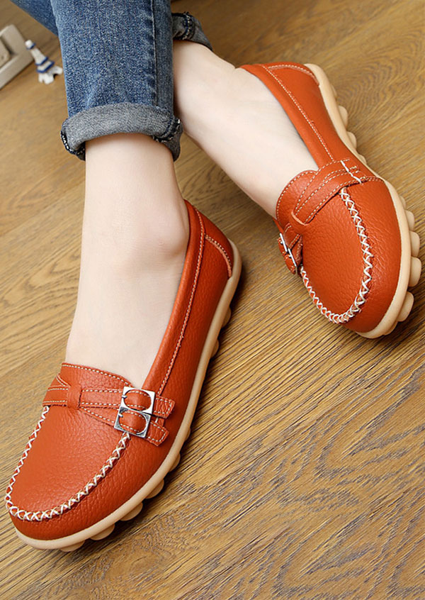 Image of Solid Buckle Round Toe Flats