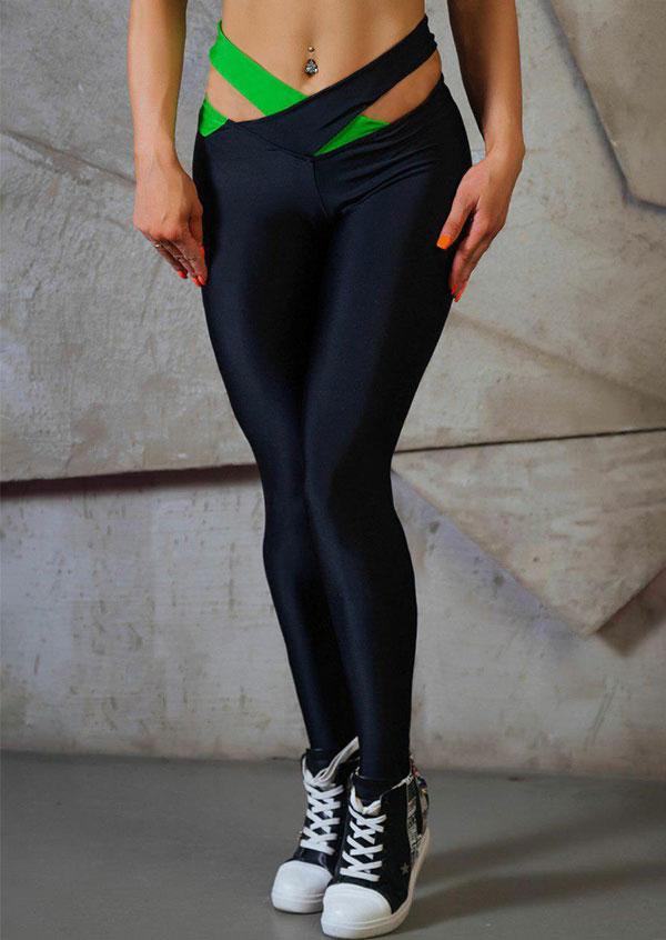 Image of Cross Splicing Skinny Sport Pants