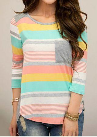 Color Block Striped Splicing Pocket Blouse Color