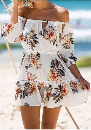 Floral Hollow Out Off Shoulder Mini Dress
