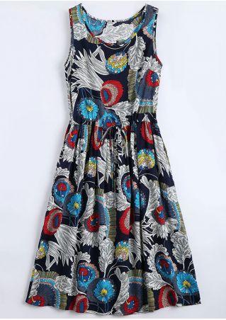 Floral Drawstring O-Neck Casual Dress