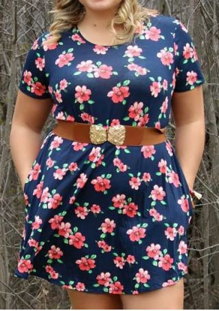 Plus Size Floral Pocket O-Neck Short Sleeve Mini Dress