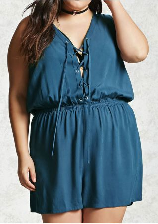 Plus Size Solid Hole Lace Up Romper without Necklace
