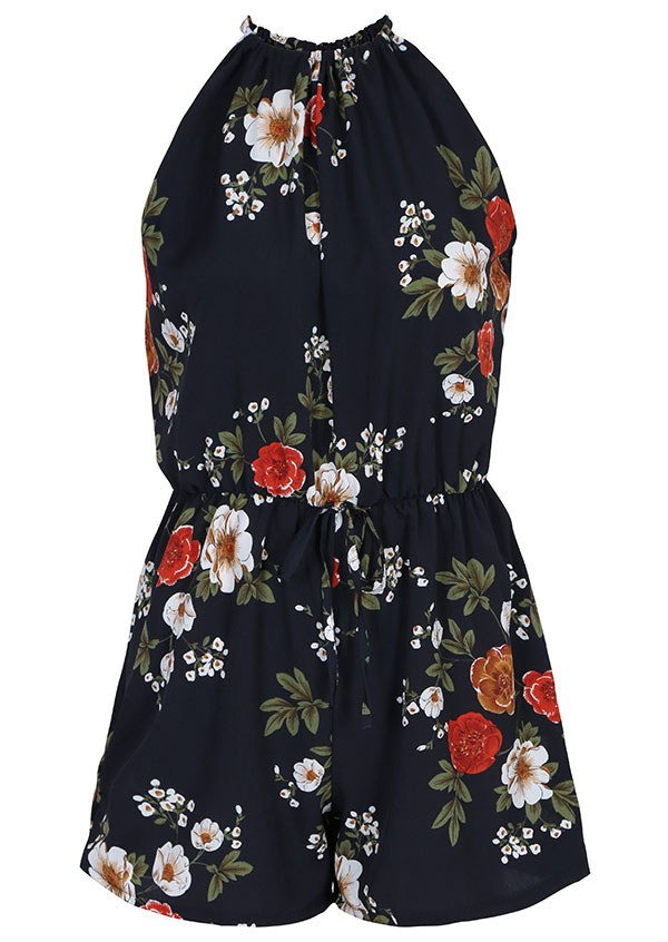 Image of Plus Size Floral Drawstring Sleeveless Romper