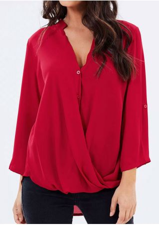 Solid V-Neck Tab-Sleeve Wrap Blouse