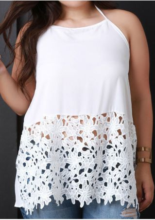 Plus Size Solid Lace Floral Halter Backless Tank