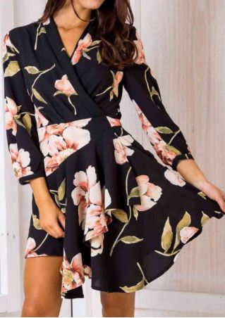 Floral V-Neck Three Quarter Mini Dress
