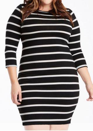 Plus Size Striped Three Quarter Sleeve Bodycon Dress