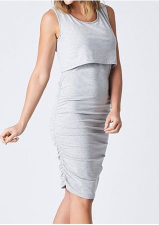 Solid Lactation Ruched Bodycon Dress
