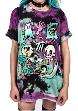 Fool Skull Printed T-Shirt without Necklace