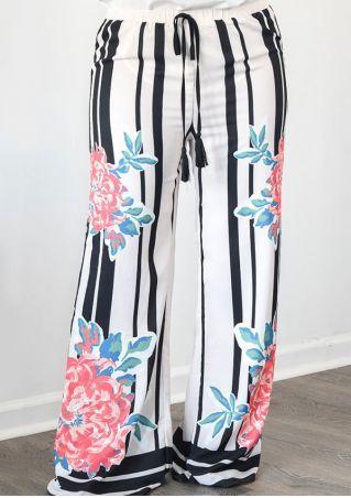 Plus Size Floral Striped Wide Leg Pants