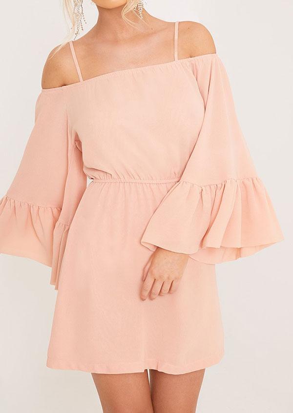 Solid Cold Shoulder Mini Dress 33863