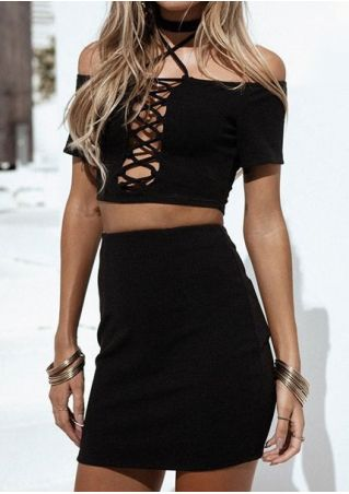 Solid Lace Up Crop Top and Skirt Set without Necklace