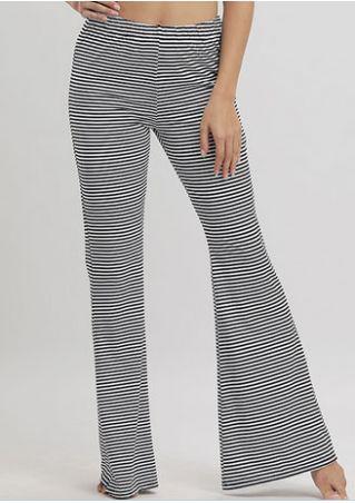 Striped Elastic Waist Flare Pants