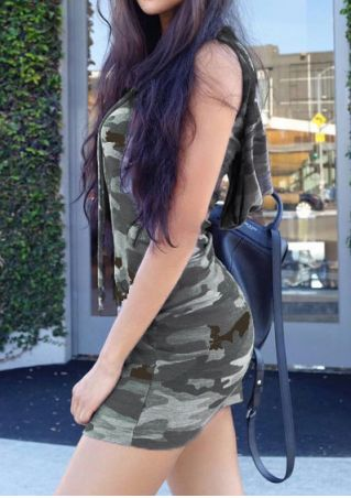 Camouflage Printed Hooded Mini Dress Camouflage