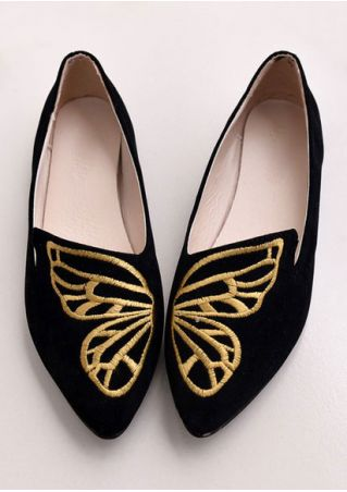 Embroidery Pointed Toe Flats