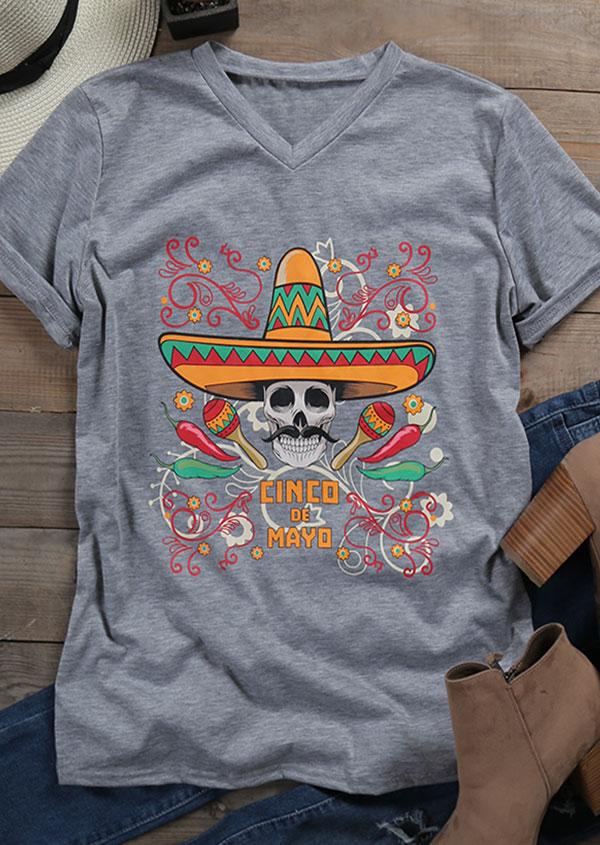 Cinco De Mayo Skull Printed T Shirt Fairyseason