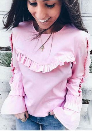 Solid Frill Flare Sleeve Blouse without Necklace
