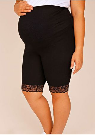 Plus Size Solid Lace Floral Skinny Stretchy Maternity Shorts