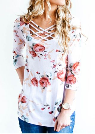 Floral Criss-Cross Blouse without Necklace