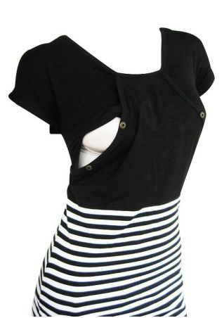 Striped Splicing Batwing Sleeve Lactation Blouse