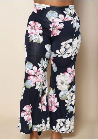 Plus Size Floral Elastic Waist Wide Leg Pants