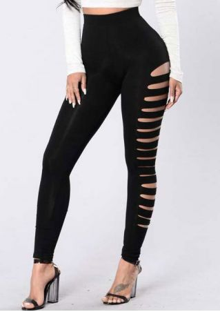 Solid Hollow Out High Waist Leggings