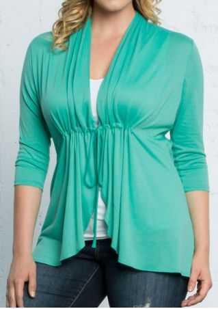 Plus Size Solid Three Quarter Sleeve Cardigan