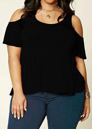 4b5b6949e6e Plus Size Solid Cold Shoulder Blouse without Necklace - Fairyseason