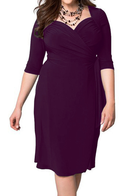 aed319435e9 Plus Size Solid Tie Ruched Casual Dress without Necklace - Fairyseason