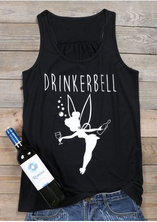 Drinkerbell Fairy Printed O-Neck Tank